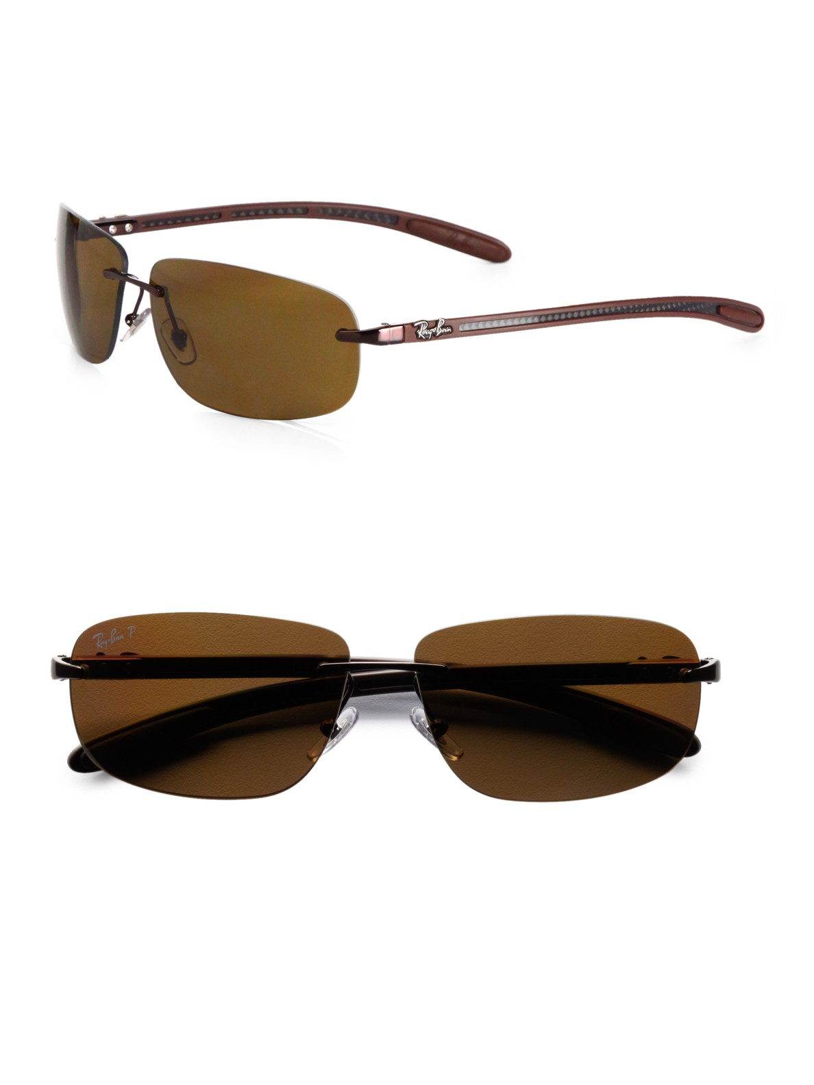 Ray-Ban Tech Rimless Metal Sunglasses in Brown for Men - Lyst