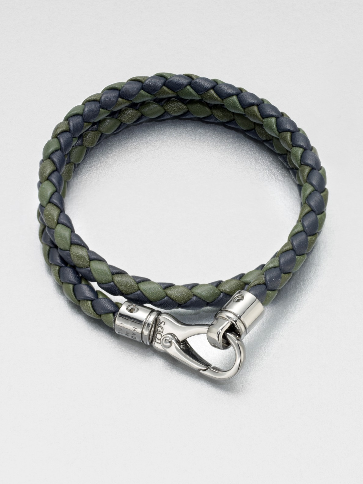Tod S Braided Leather Bracelet In Blue