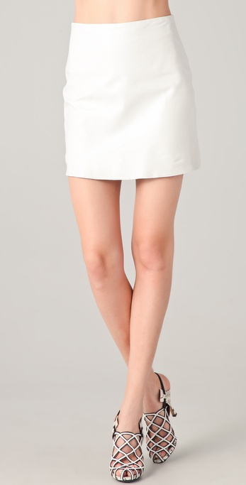 Willow Leather Miniskirt in White | Lyst