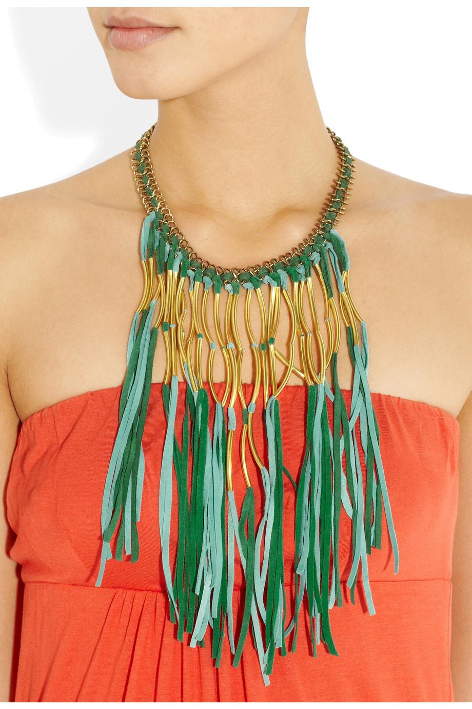 Antik Batik Elias Tasseled Suede Necklace in Turquoise (Green)