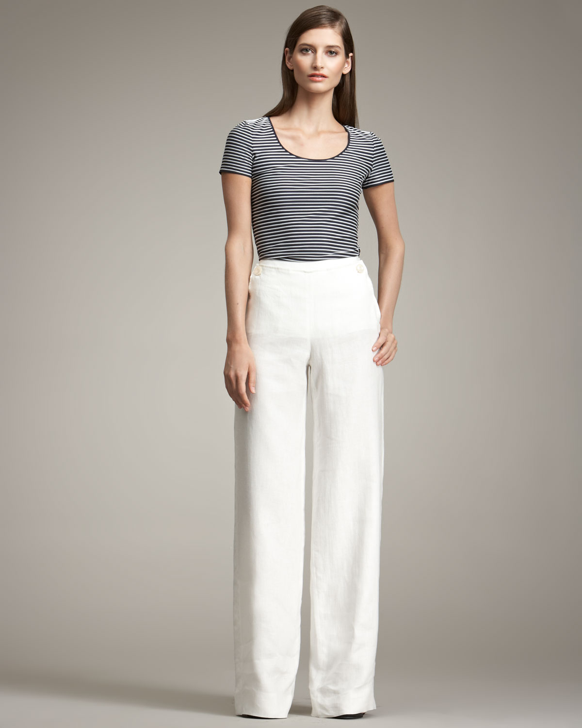 Armani Wideleg Sailor Pants in White | Lyst