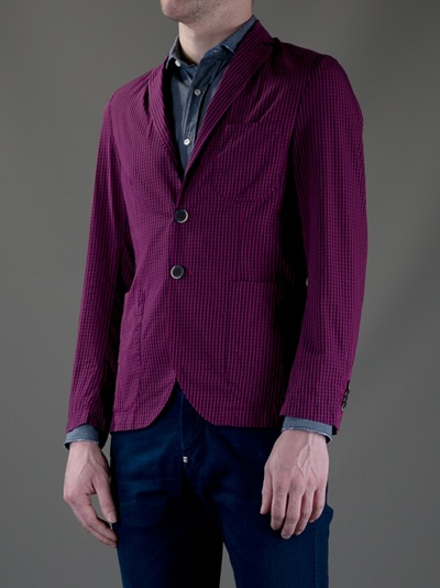 Barena Checked Jacket in Purple for Men