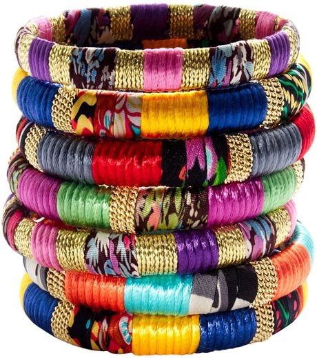 Cara Accessories Mixedfabric and Gold Bangle in Multicolor (assorted) - Lyst