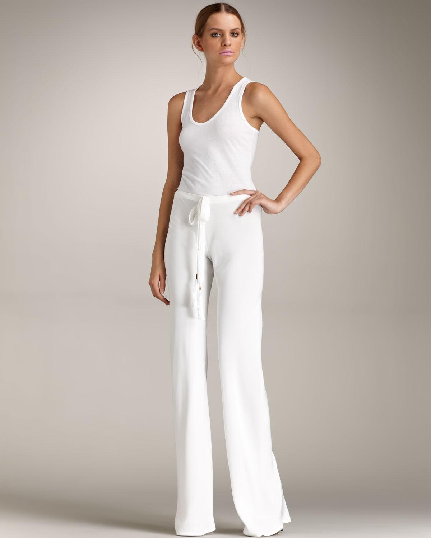Emilio pucci Drawstringwaist Silk Pants in White | Lyst