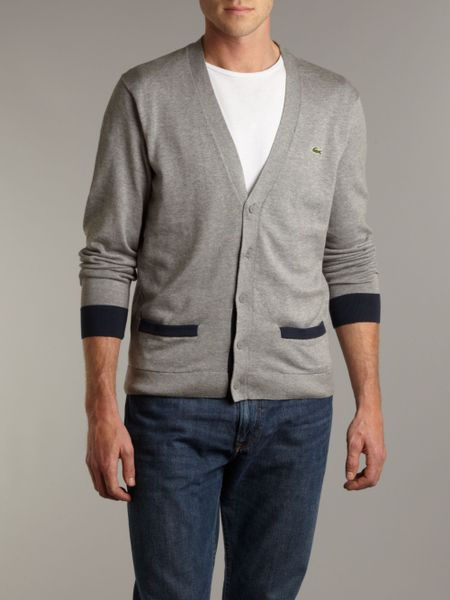 Lacoste Contrast Colour Pocket Cardigan In Gray For Men