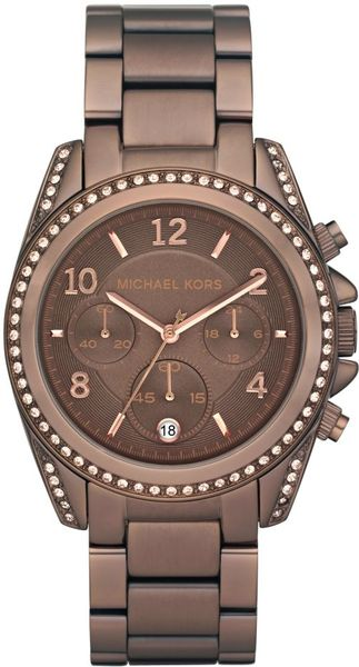 Michael Kors Chronograph Bronze Tone Stainless Steel Bracelet 39mm in Brown (bronze)