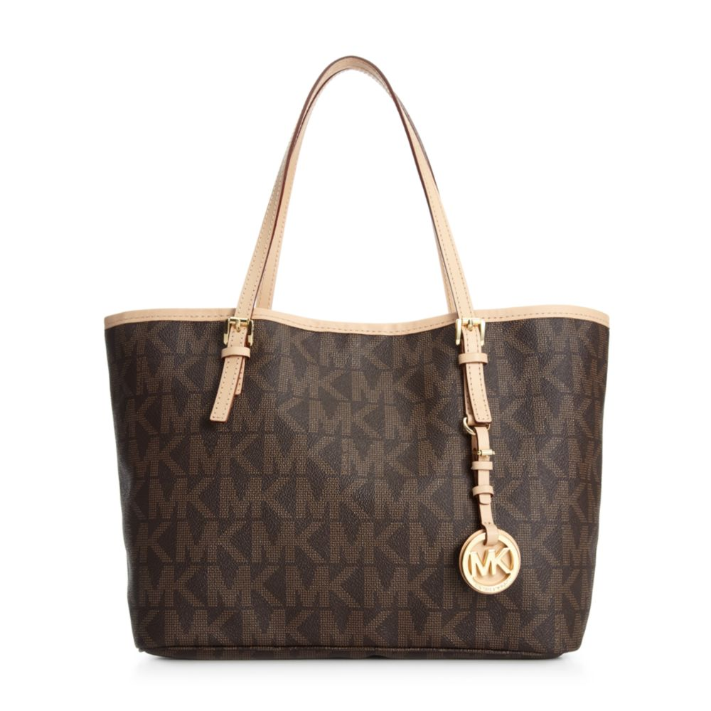 michael kors jet set small travel logo tote in brown lyst. Black Bedroom Furniture Sets. Home Design Ideas
