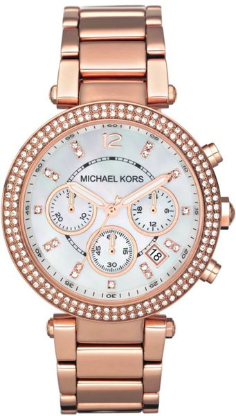 Michael Kors Chronograph Rose Gold Tone Stainless Steel Bracelet  in Pink (rose)