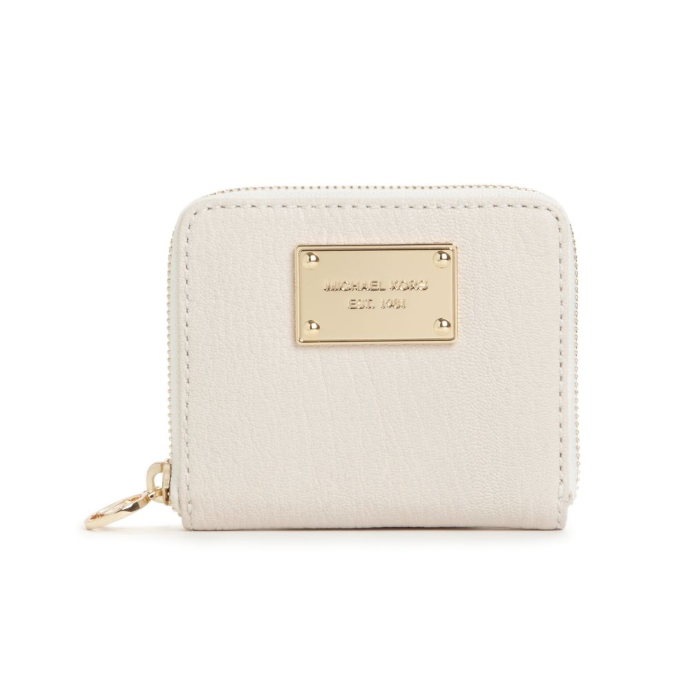 d08c8eaf2ce457 Michael Kors Jet Set Gold Ziparound Small Coin Purse in White - Lyst