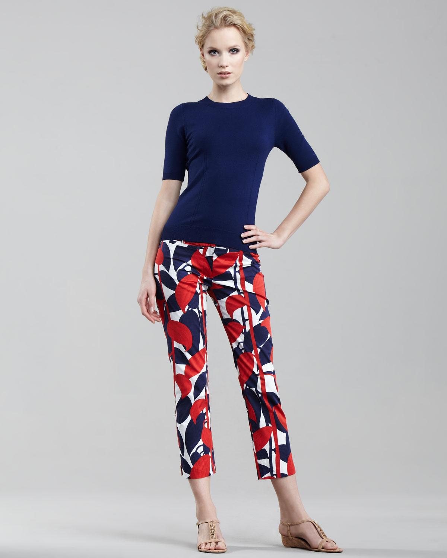 Milly Annie Printed Capri Pants in Blue | Lyst
