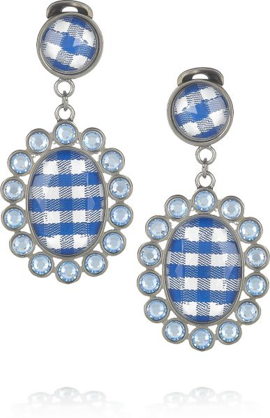 Miu Miu Gingham and Plexiglass Crystal Clip Earrings in Blue (silver)