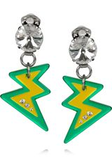 Miu Miu Plexiglass Crystal Lightning Bolt Clip Earrings