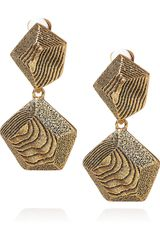 Oscar de la Renta 24karat Goldplated Woodeffect Clip Earrings