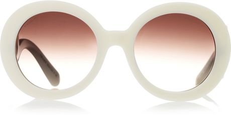 Prada Roundframe Acetate Sunglasses in White (ivory) - Lyst