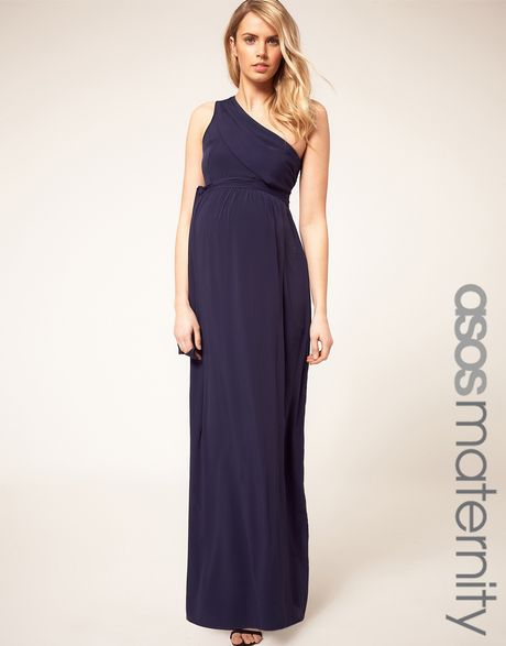 one shoulder maternity maxi dress
