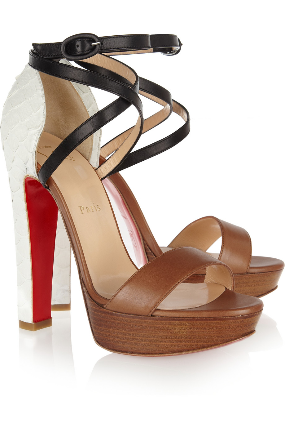 Christian Louboutin Black Summerissima 140 Python And Leather Sandals