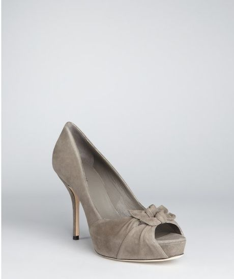 Gucci Lise Peep Toe Bow Pumps in Gray (grey) - Lyst