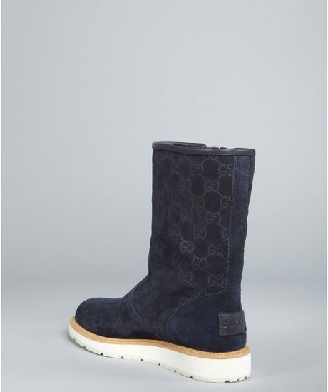 Gucci Navy Gg Suede Buckled Boots In Blue Navy Lyst