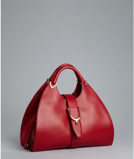 Gucci Strawberry Leather Stirrup Top Handle Bag in Red (strawberry ...