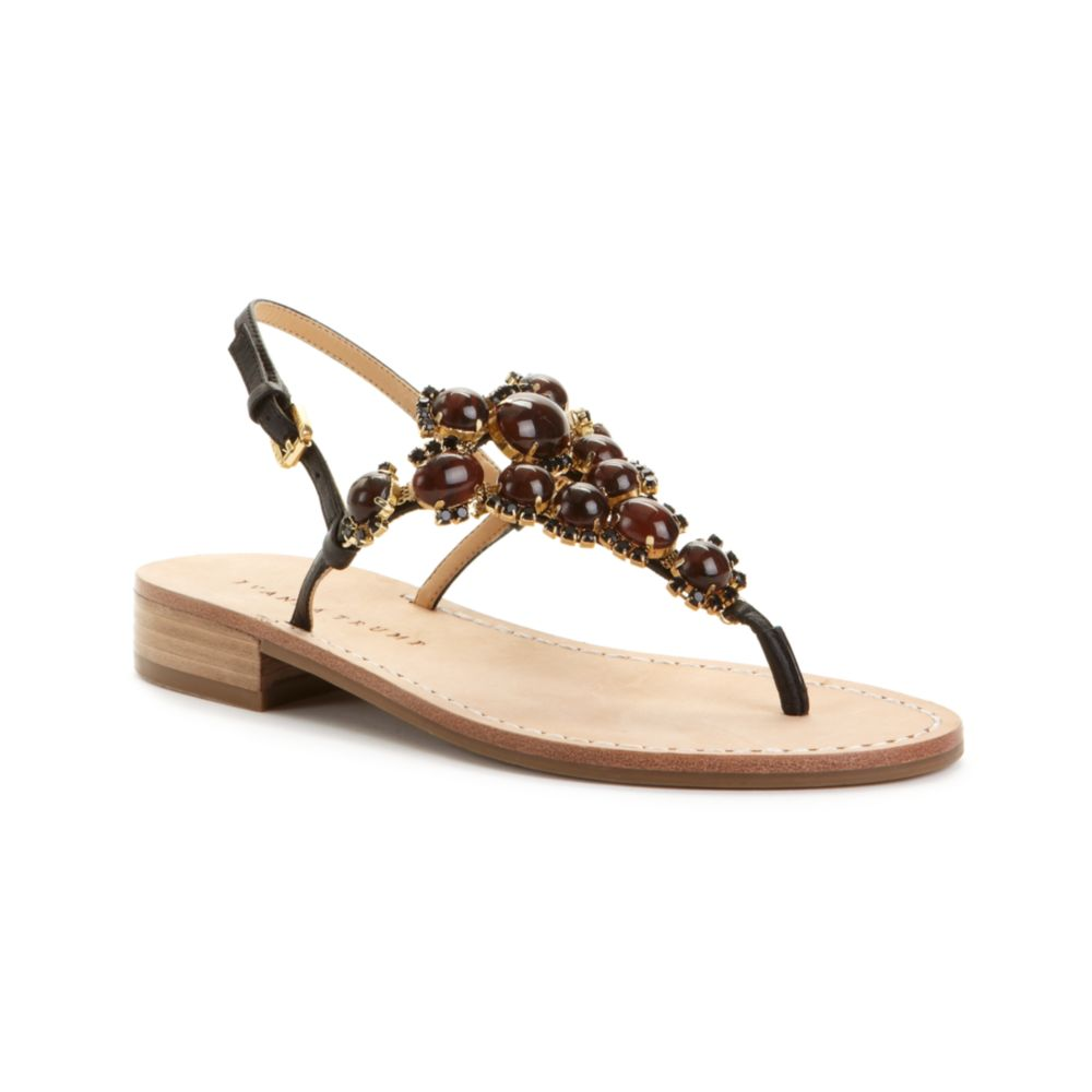 Ivanka trump Valerie Flat Sandals in Brown | Lyst