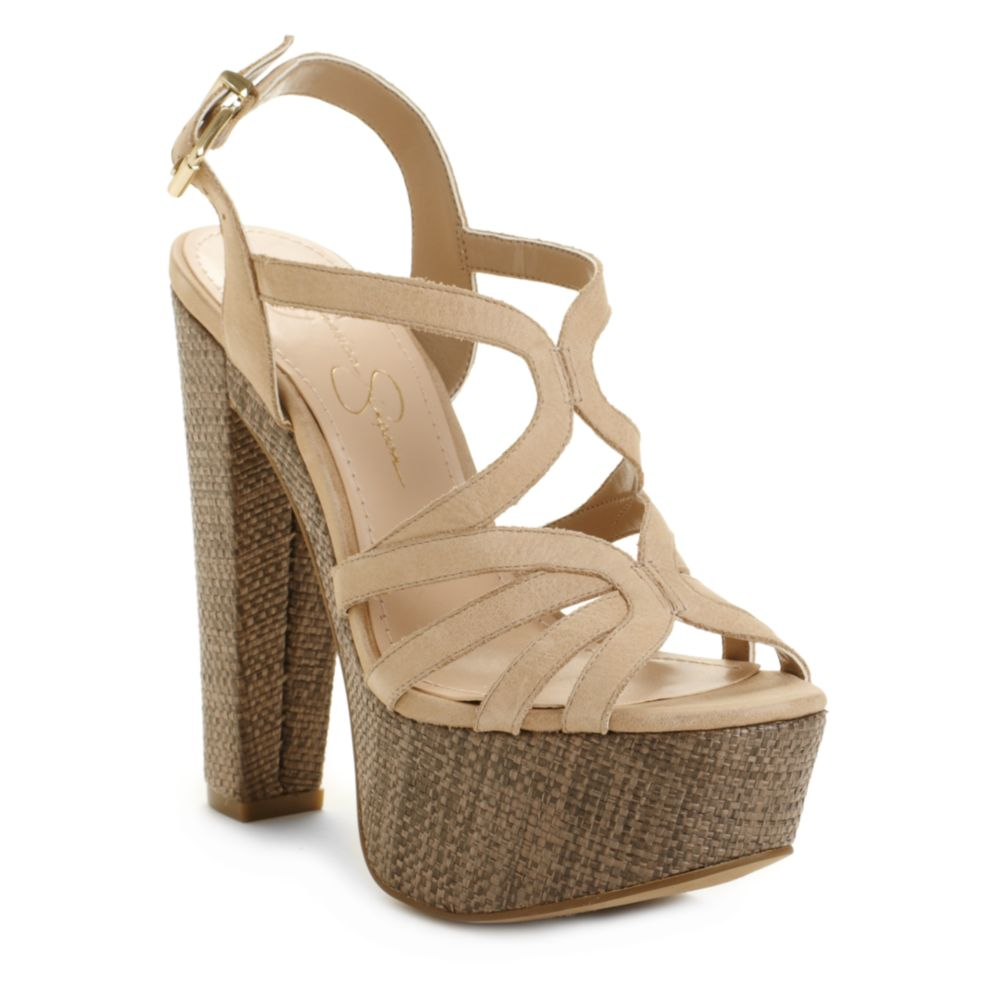 Lyst Jessica Simpson Cizal Wedge Sandals In Natural