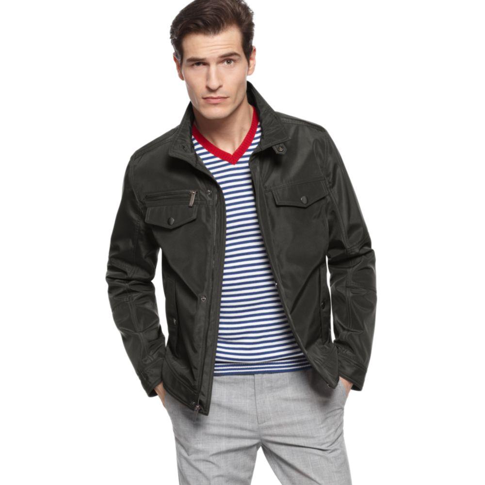 52d1ffef052 Kenneth Cole Reaction Poly Bonded Moto Jacket in Black for Men - Lyst