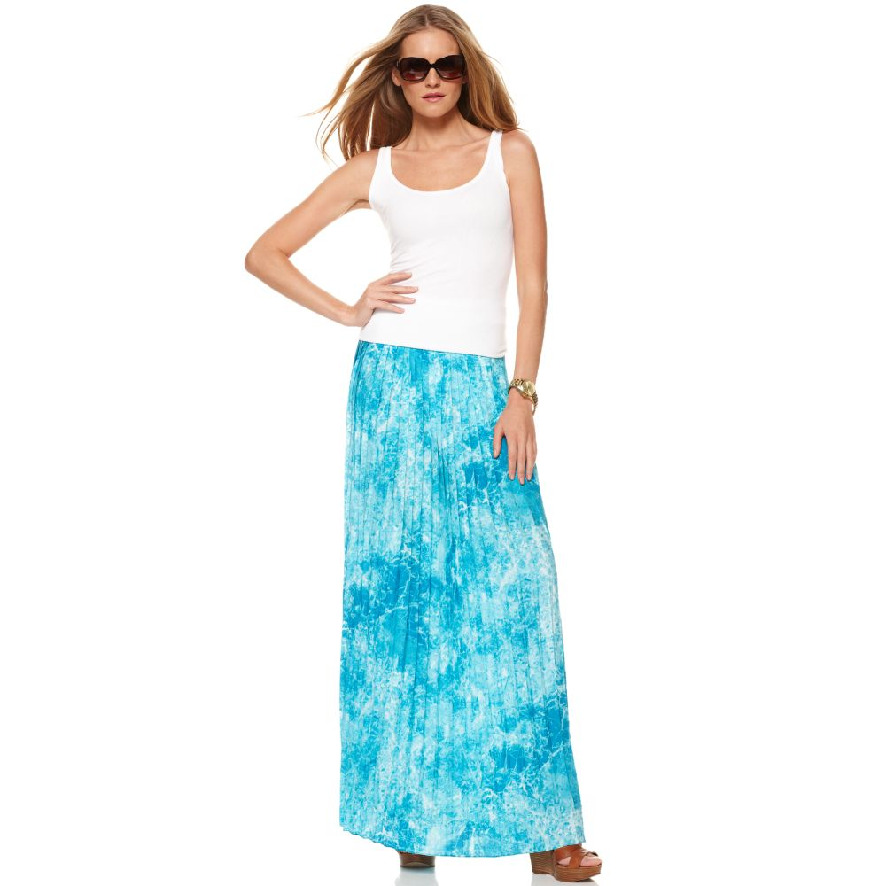 michael kors marble printed pleated a line maxi skirt in