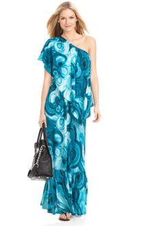 Shoulder Maxi Dress on Michael Kors Blue One Shoulder Maxi Dress
