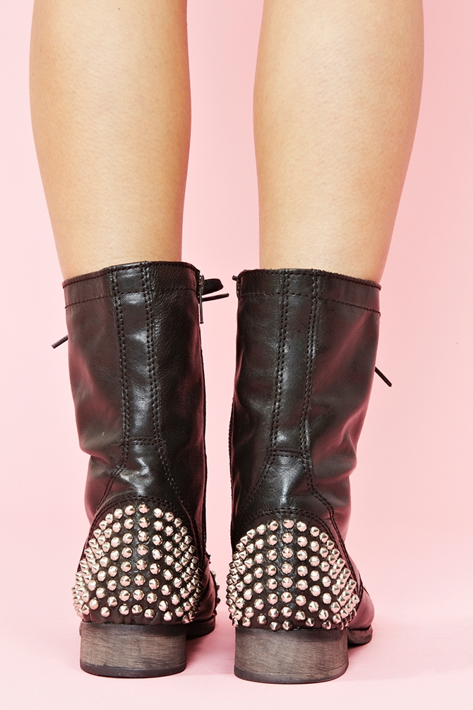 Nasty Gal Studded Combat Boot In Black Brown Lyst