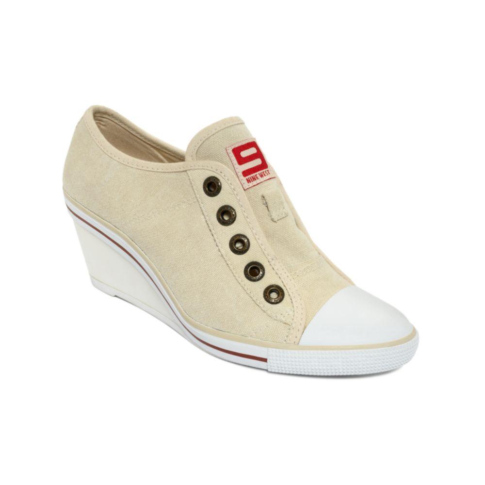 cb2569dddd2b Lyst - Nine West Bitt 200 Original Wedge Sneakers in Natural