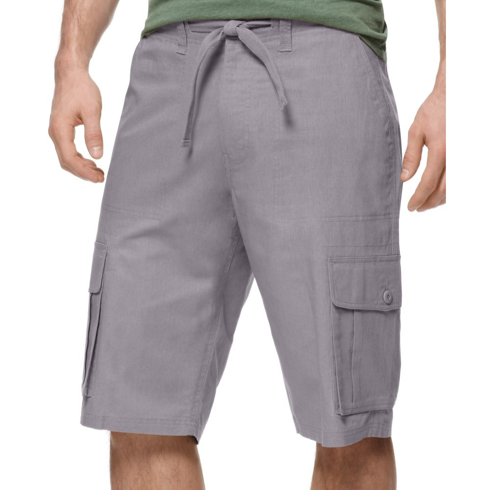 Sean john Linen Cargo Shorts in Gray for Men | Lyst