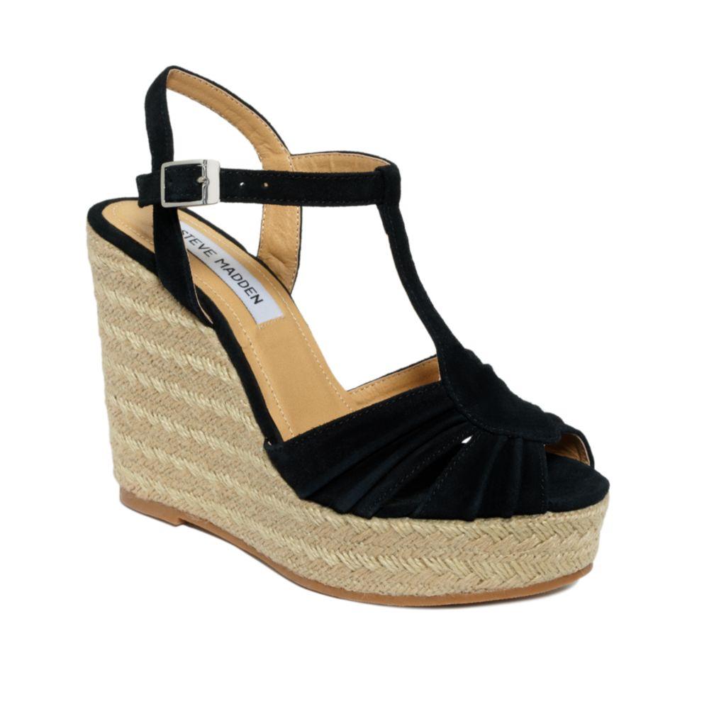 steve madden mammbow wedge sandals in black lyst. Black Bedroom Furniture Sets. Home Design Ideas