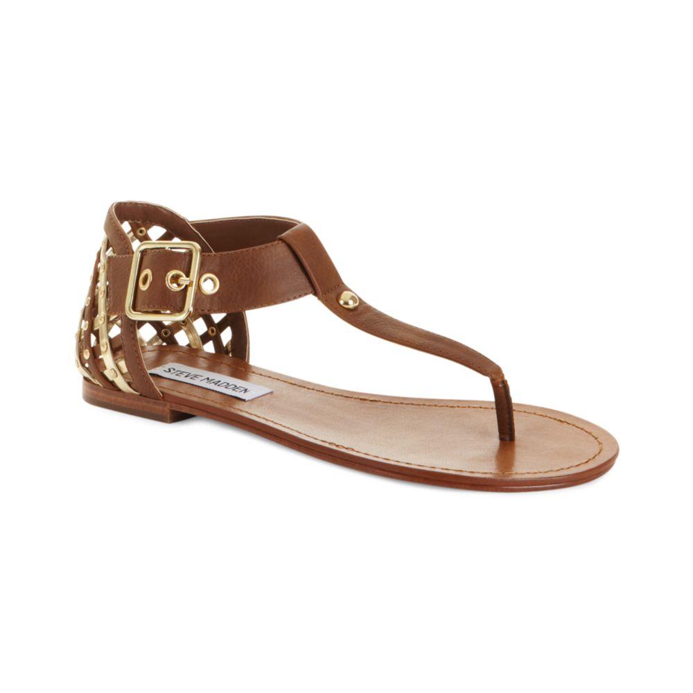 steve madden sutttle flat sandals in brown cognac lyst. Black Bedroom Furniture Sets. Home Design Ideas
