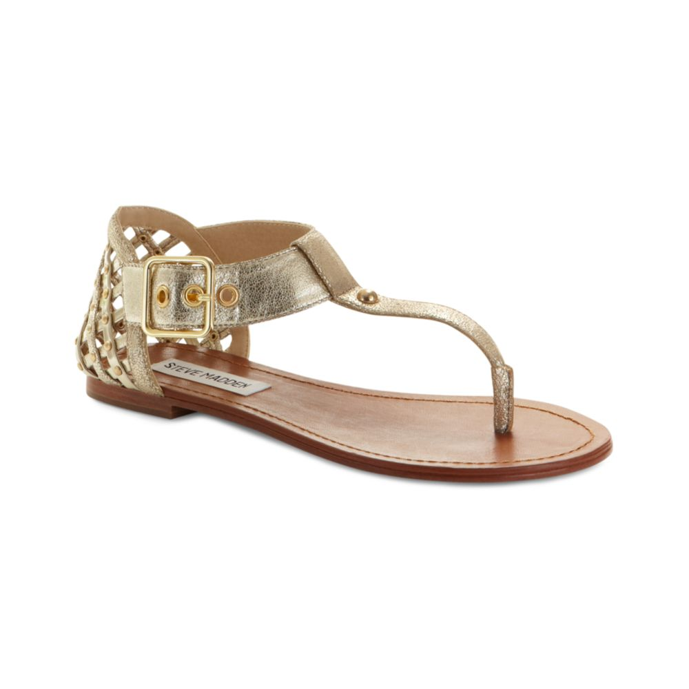a02f0e7f3c48 Steve Madden Sutttle Flat Sandals in Gold (dusty gold)