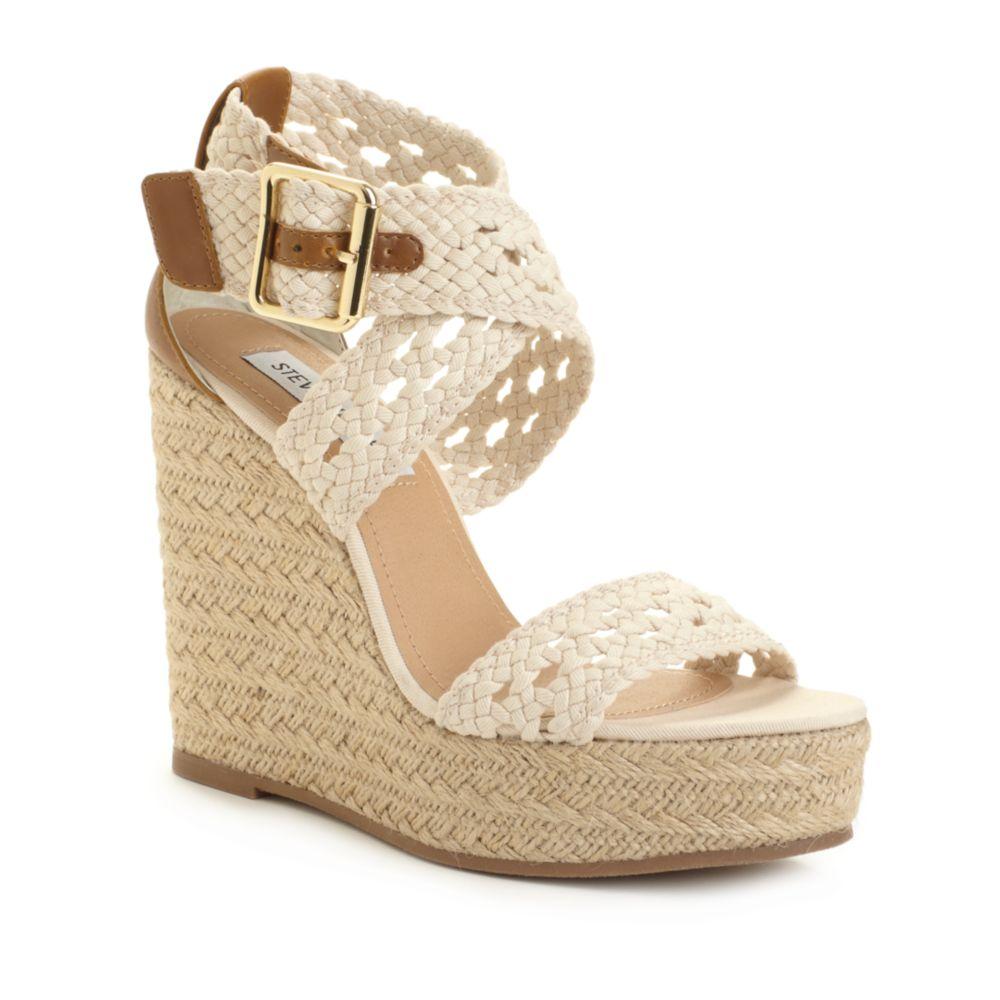 0c8491b5cbc0 Lyst steve madden magestee wedge sandals in natural jpg 1000x1000 Steve  madden white wedges