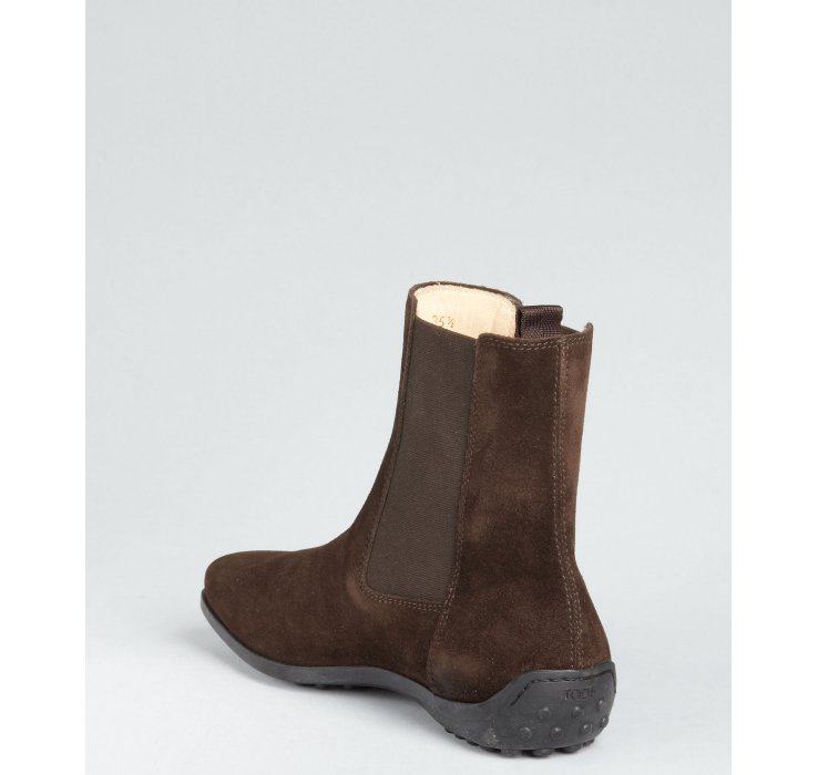 tod s brown suede slipon flat boots in brown lyst