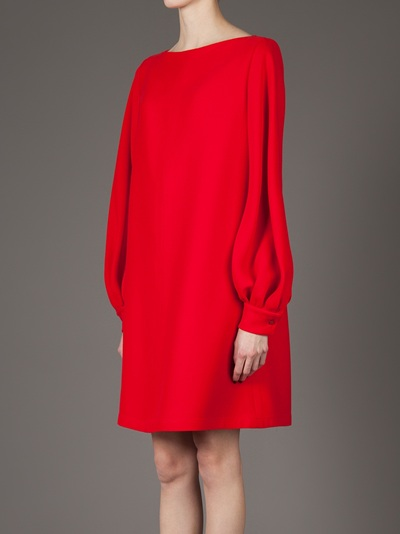 f46831a30 Valentino Balloon Sleeve Shift Dress in Red - Lyst