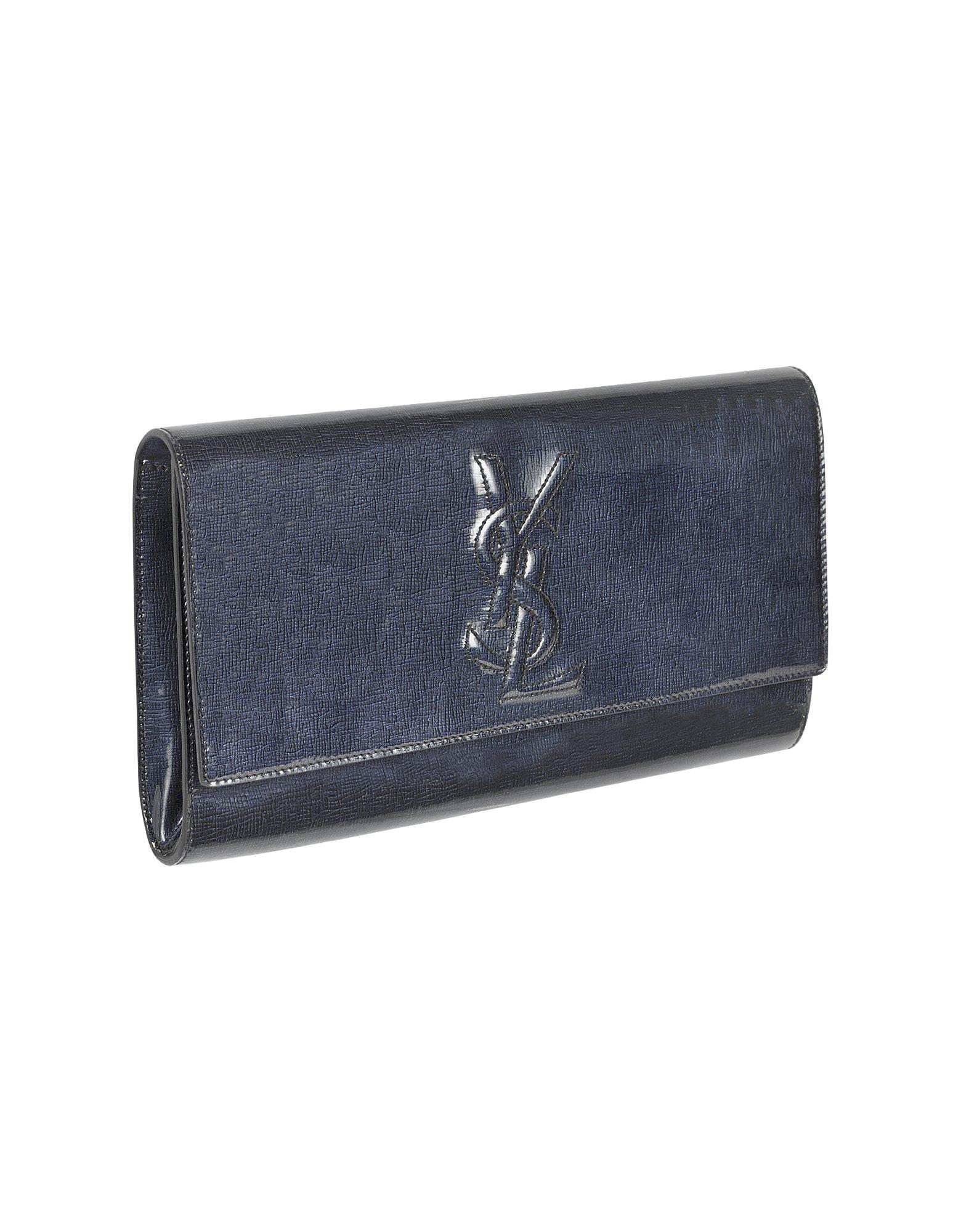 Saint laurent Large Logo Patent Leather Clutch in Blue (multi) | Lyst