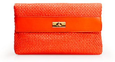 J.crew Brompton Straw Clutch in Red (cerise) - Lyst