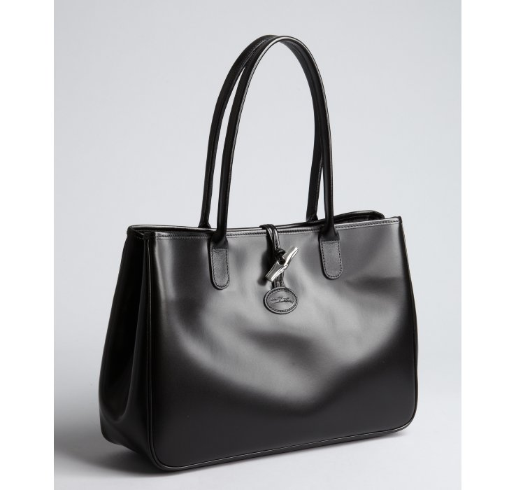 Longchamp Black Leather Toggle Tote in Black - Lyst 7c9d75ea192d9