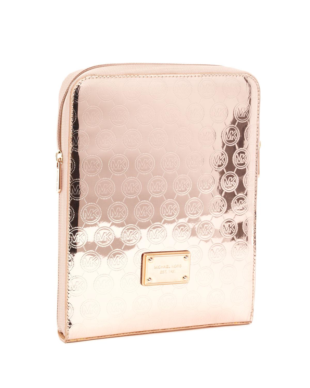 nya anländer fabriksgiltig Vanliga skor MICHAEL Michael Kors Monogram Ipad Case Rose Gold Or White - Lyst