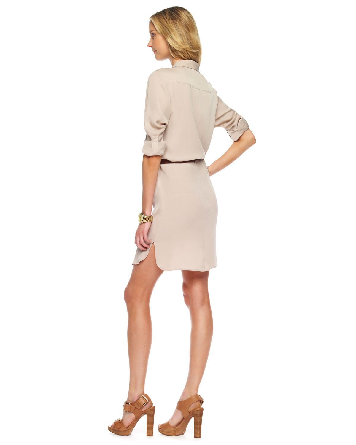 1677feae69f22c Michael Kors Belted Shirt Dress in Natural - Lyst