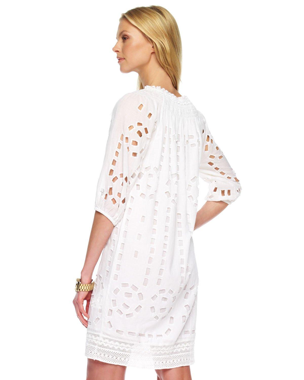 Lyst Michael kors Eyelet Peasant Dress in White