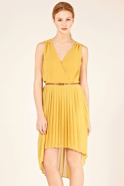 Oasis Wrap Belted Pleat Midi Dress In Yellow Lyst