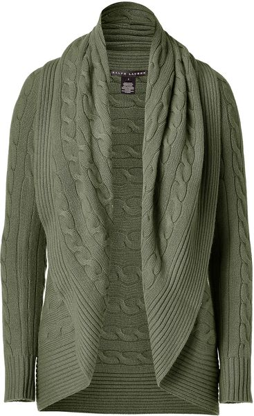 Ralph Lauren Olive Chunky Cable Circle Cardigan in Green (olive) - Lyst