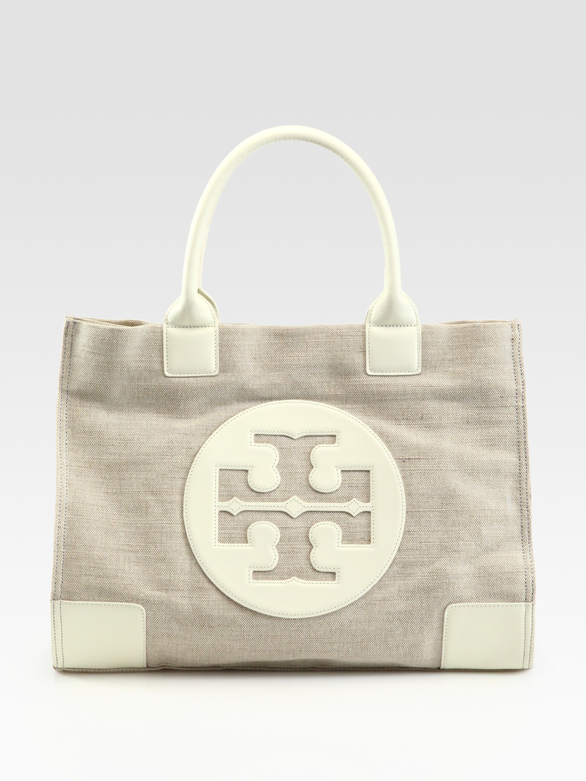 Tory Burch Ella Metallic Canvas Leather Tote Bag In