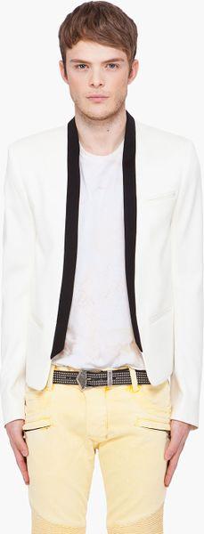 Balmain Black White Blazer in White for Men (black)