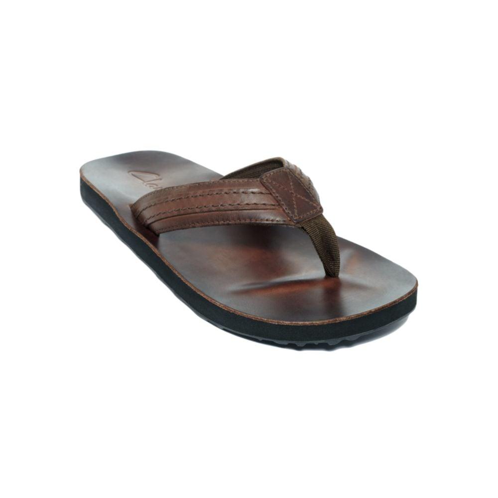 Lyst Clarks Jay Leather Flip Flop Sandals In Brown For Men