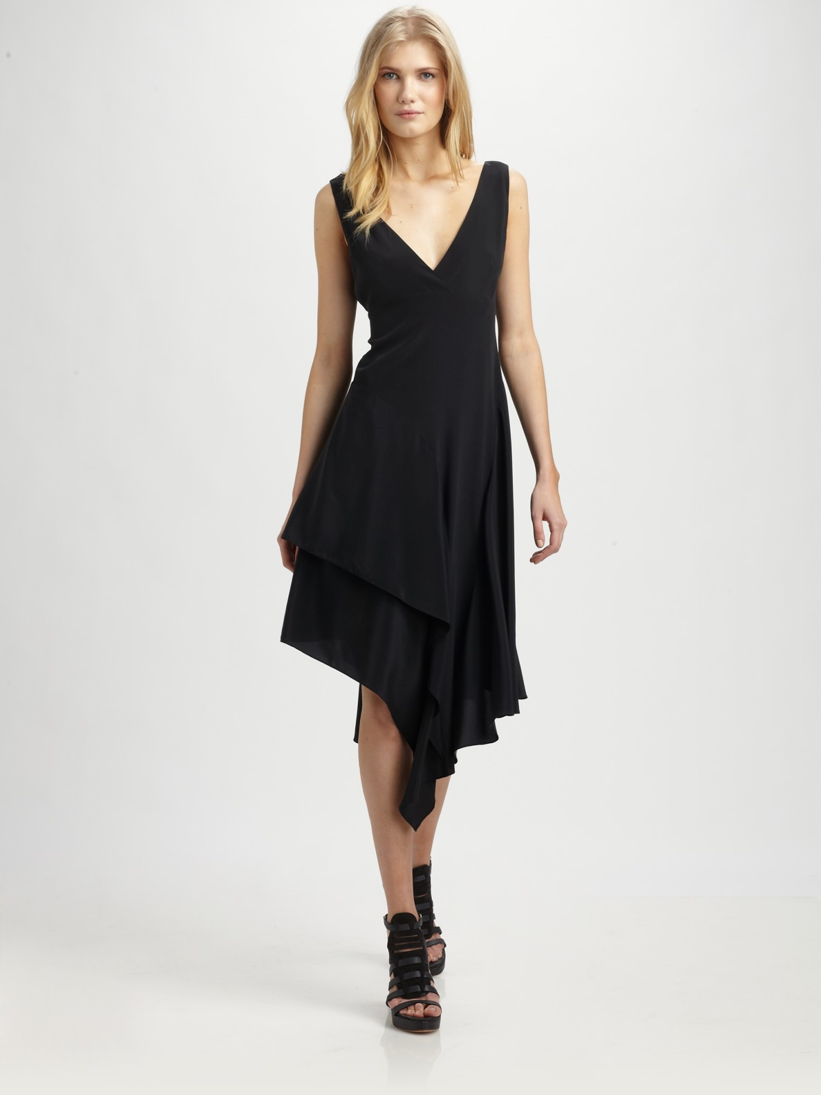 dkny asymmetrical crepe de chine dress in black lyst. Black Bedroom Furniture Sets. Home Design Ideas
