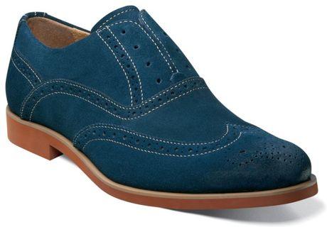 Florsheim No String Wing Tip Slip On Shoes in Blue for Men (navy suede